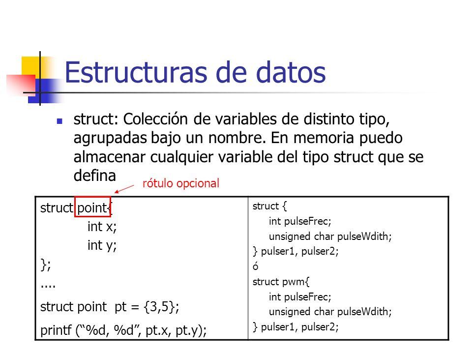 Estructuras de datos struct: Colección de variables de distinto tipo, agrupadas bajo un nombre. En memoria puedo almacenar cualquier variable del tipo