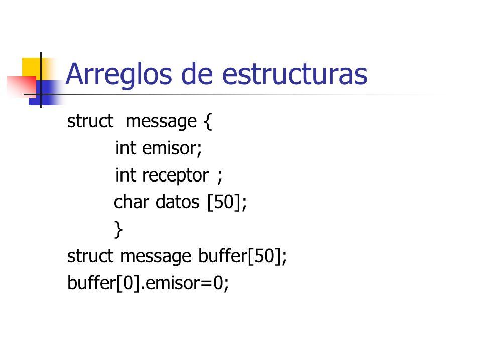 Arreglos de estructuras struct message { int emisor; int receptor ; char datos [50]; } struct message buffer[50]; buffer[0].emisor=0;