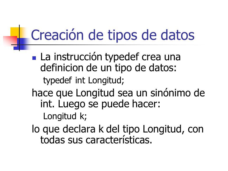 Creación de tipos de datos La instrucción typedef crea una definicion de un tipo de datos: typedef int Longitud; hace que Longitud sea un sinónimo de