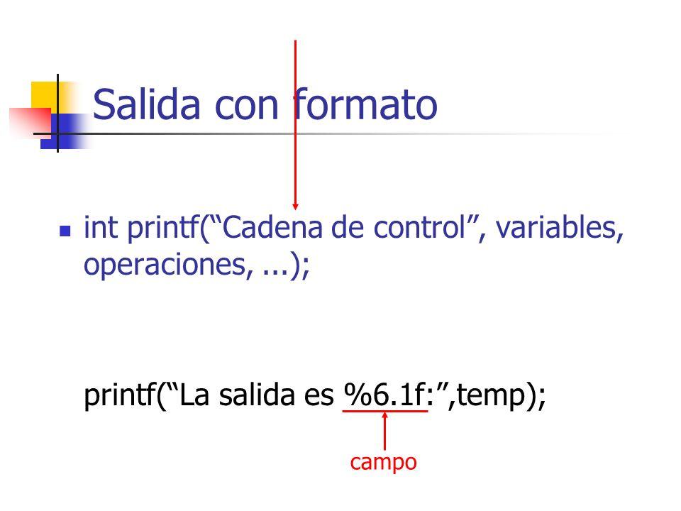Salida con formato int printf(Cadena de control, variables, operaciones,...); printf(La salida es %6.1f:,temp); campo