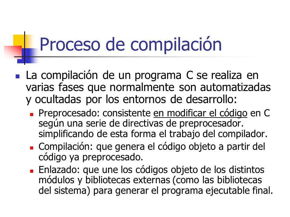 Proceso de compilación La compilación de un programa C se realiza en varias fases que normalmente son automatizadas y ocultadas por los entornos de de