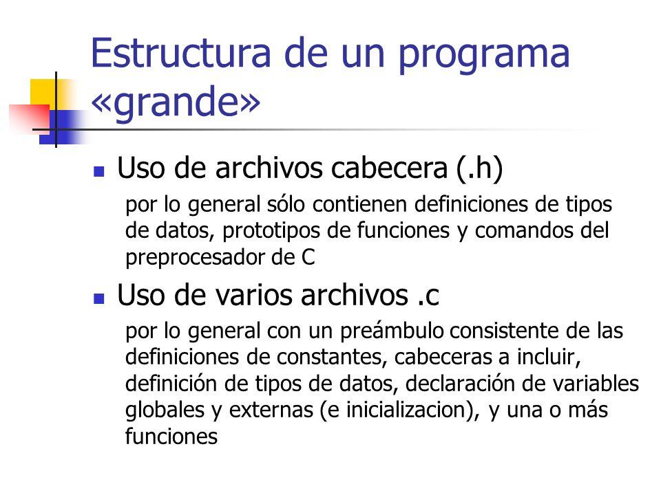 Estructura de un programa «grande» División en directorios Por lo general agrupando los archivos relacionados o bajo cierta lógica Uso de make y makefile Para una fácil y consistente compilación Uso de macros en make típicamente usadas para guardar nombres de archivos fuente, nombres de archivos objeto, opciones del compilador o links a bibliotecas