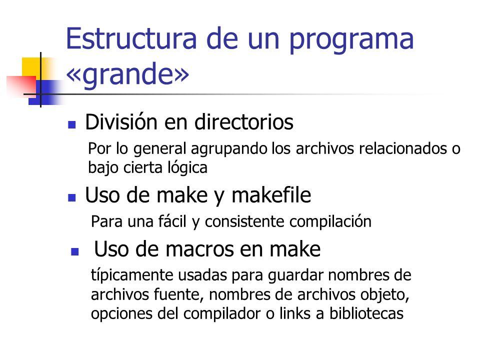 Estructura de un programa «grande» División en directorios Por lo general agrupando los archivos relacionados o bajo cierta lógica Uso de make y makef
