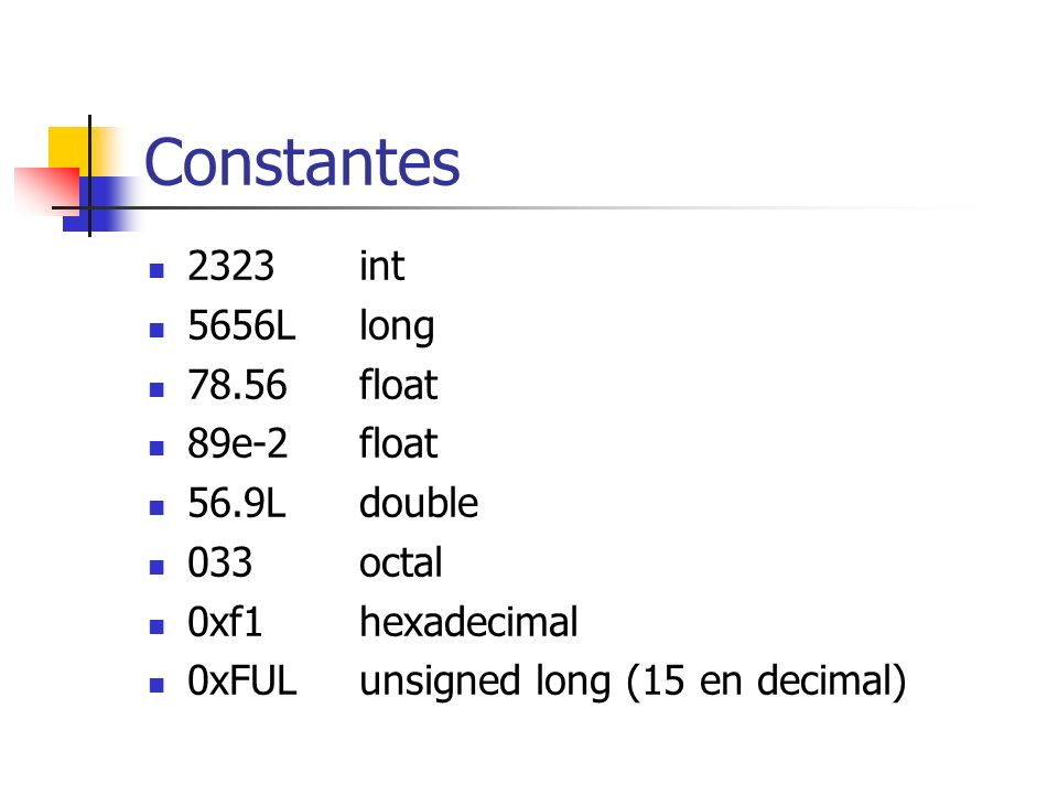 Constantes ncaracter \000carácter (representado en octal) \xhhcarácter (representado en hexa) \aalerta\\barra \bblanco\?Pregunta \ffin de linea\Comilla simle \nNueva linea\Doble comilla \rCarriage return\vTab vertical \tTab horizontal