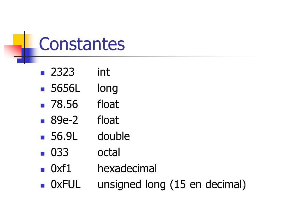 Constantes 2323int 5656Llong 78.56float 89e-2float 56.9Ldouble 033octal 0xf1hexadecimal 0xFULunsigned long (15 en decimal)