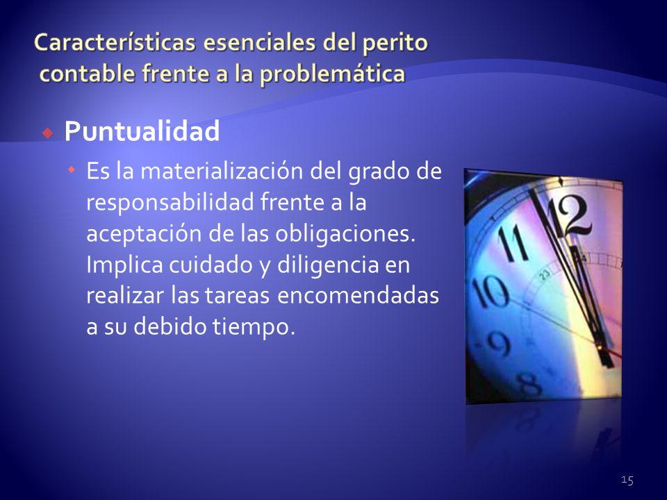Puntualidad Es la materialización del grado de responsabilidad frente a la aceptación de las obligaciones. Implica cuidado y diligencia en realizar la