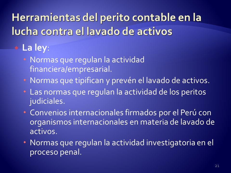 La ley: Normas que regulan la actividad financiera/empresarial. Normas que tipifican y prevén el lavado de activos. Las normas que regulan la activida