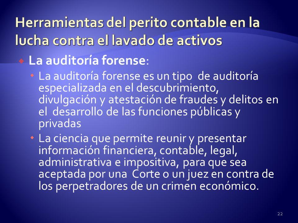 La auditoría forense: La auditoría forense es un tipo de auditoría especializada en el descubrimiento, divulgación y atestación de fraudes y delitos e