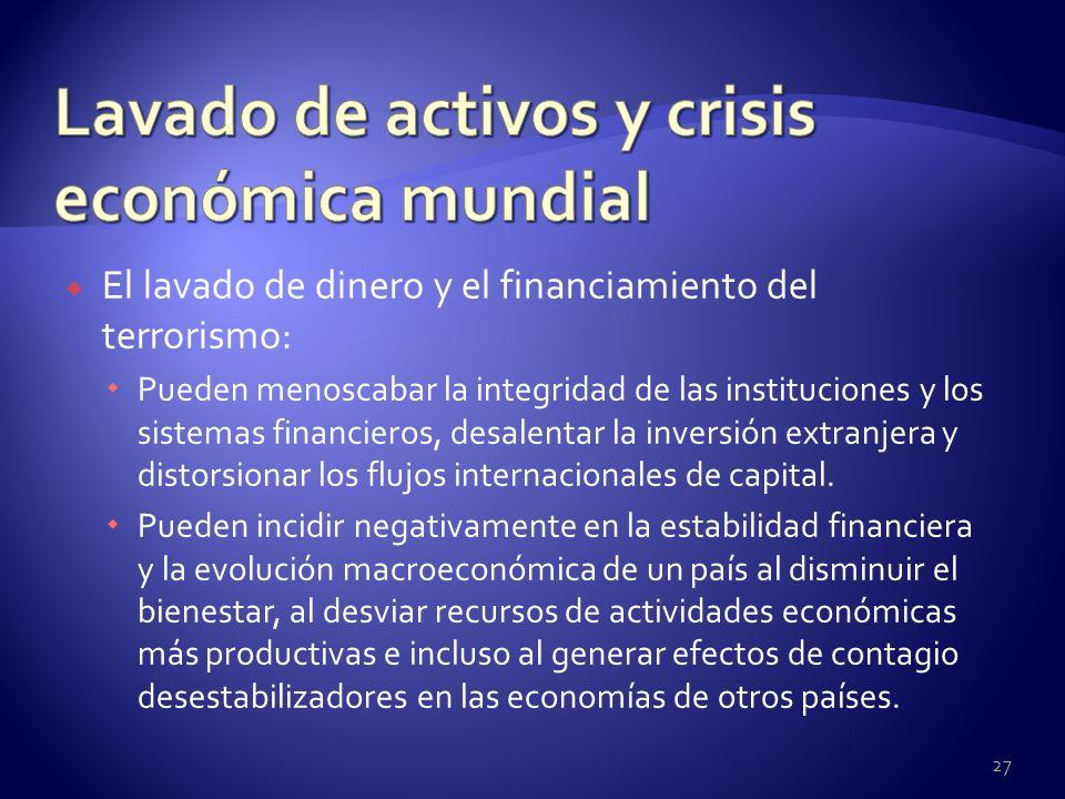 El lavado de dinero y el financiamiento del terrorismo: Pueden menoscabar la integridad de las instituciones y los sistemas financieros, desalentar la