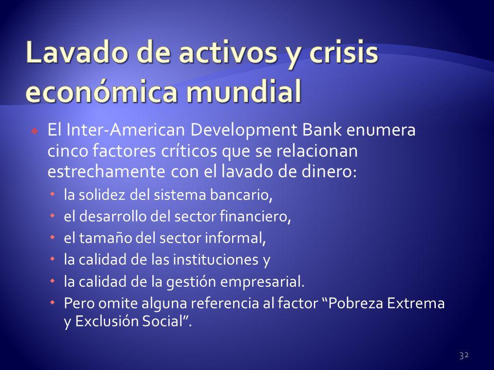 El Inter-American Development Bank enumera cinco factores críticos que se relacionan estrechamente con el lavado de dinero: la solidez del sistema ban