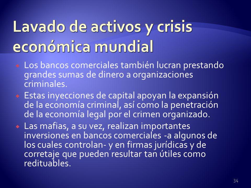 Los bancos comerciales también lucran prestando grandes sumas de dinero a organizaciones criminales. Estas inyecciones de capital apoyan la expansión