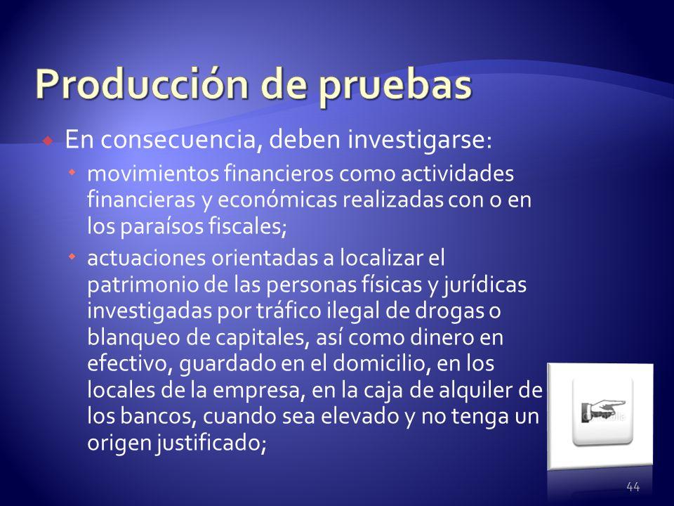 En consecuencia, deben investigarse: movimientos financieros como actividades financieras y económicas realizadas con o en los paraísos fiscales; actu