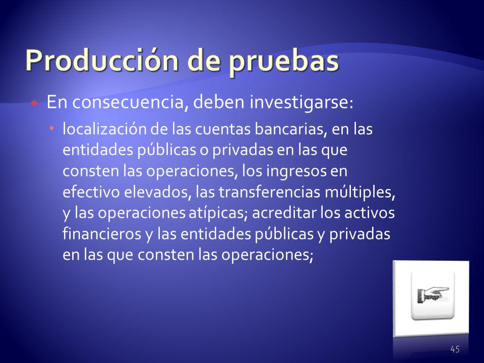 En consecuencia, deben investigarse: localización de las cuentas bancarias, en las entidades públicas o privadas en las que consten las operaciones, l