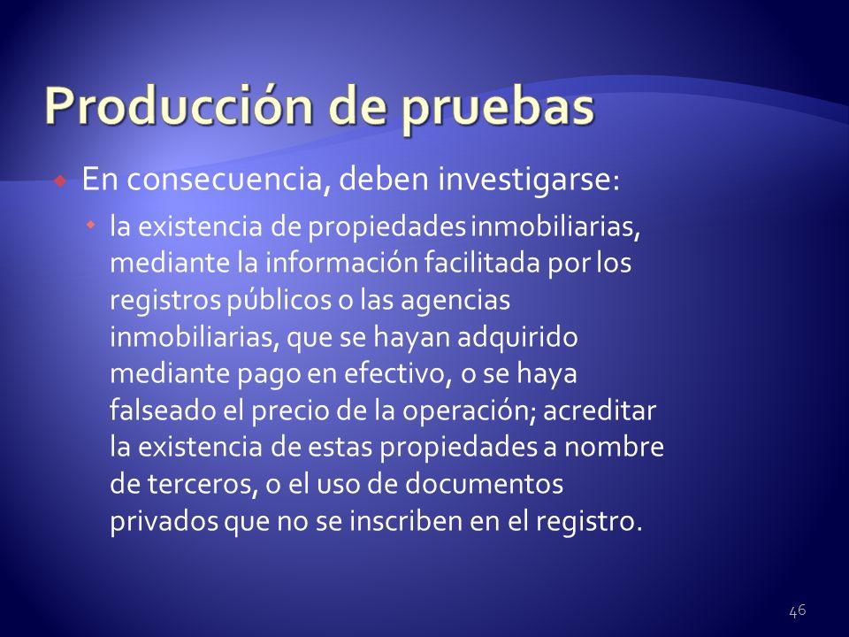 En consecuencia, deben investigarse: la existencia de propiedades inmobiliarias, mediante la información facilitada por los registros públicos o las a