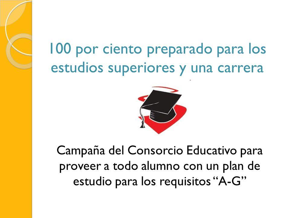 100 por ciento preparado para los estudios superiores y una carrera Campaña del Consorcio Educativo para proveer a todo alumno con un plan de estudio para los requisitos A-G