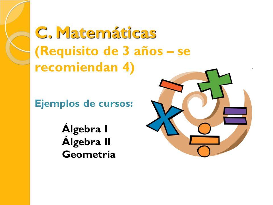 C. Matemáticas (Requisito de 3 años – se recomiendan 4) Ejemplos de cursos: Álgebra I Álgebra II Geometría