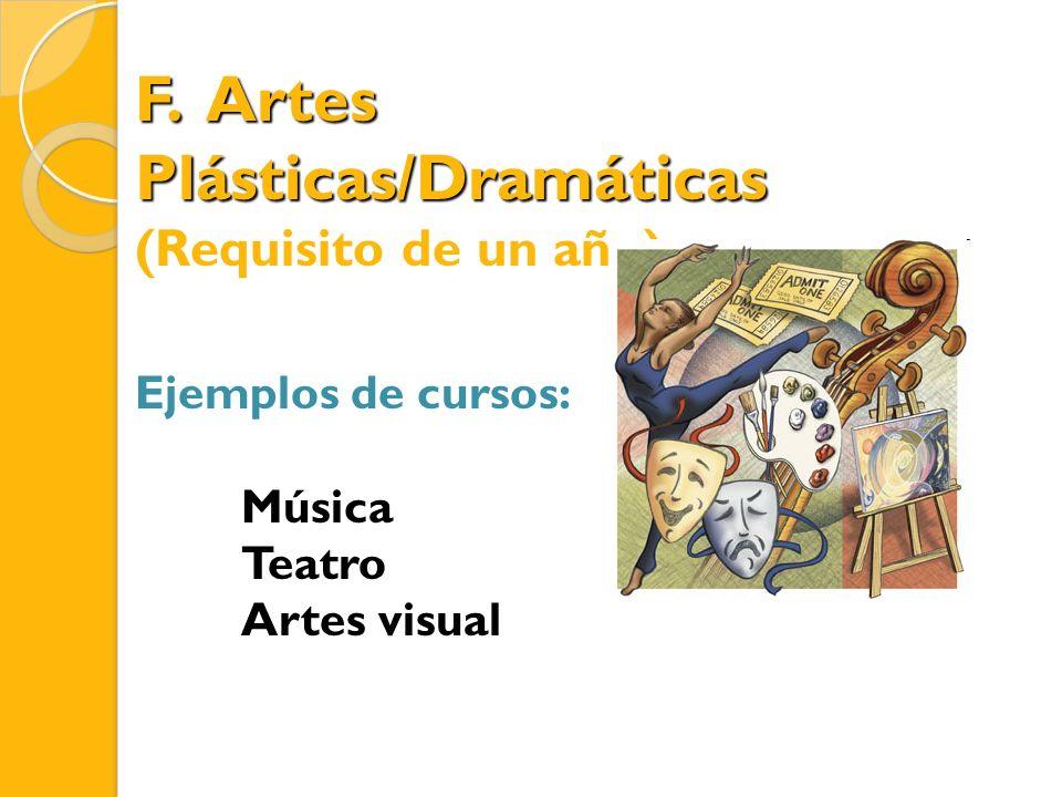 F. Artes Plásticas/Dramáticas (Requisito de un año) Ejemplos de cursos: Música Teatro Artes visual