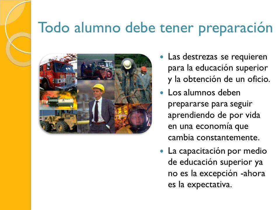 Todo alumno debe tener preparación Las destrezas se requieren para la educación superior y la obtención de un oficio.