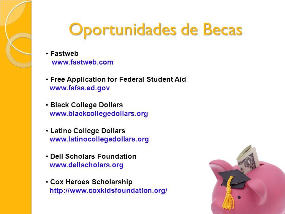 Fastweb www.fastweb.com Free Application for Federal Student Aid www.fafsa.ed.gov Black College Dollars www.blackcollegedollars.org Latino College Dollars www.latinocollegedollars.org Dell Scholars Foundation www.dellscholars.org Cox Heroes Scholarship http://www.coxkidsfoundation.org/ Oportunidades de Becas