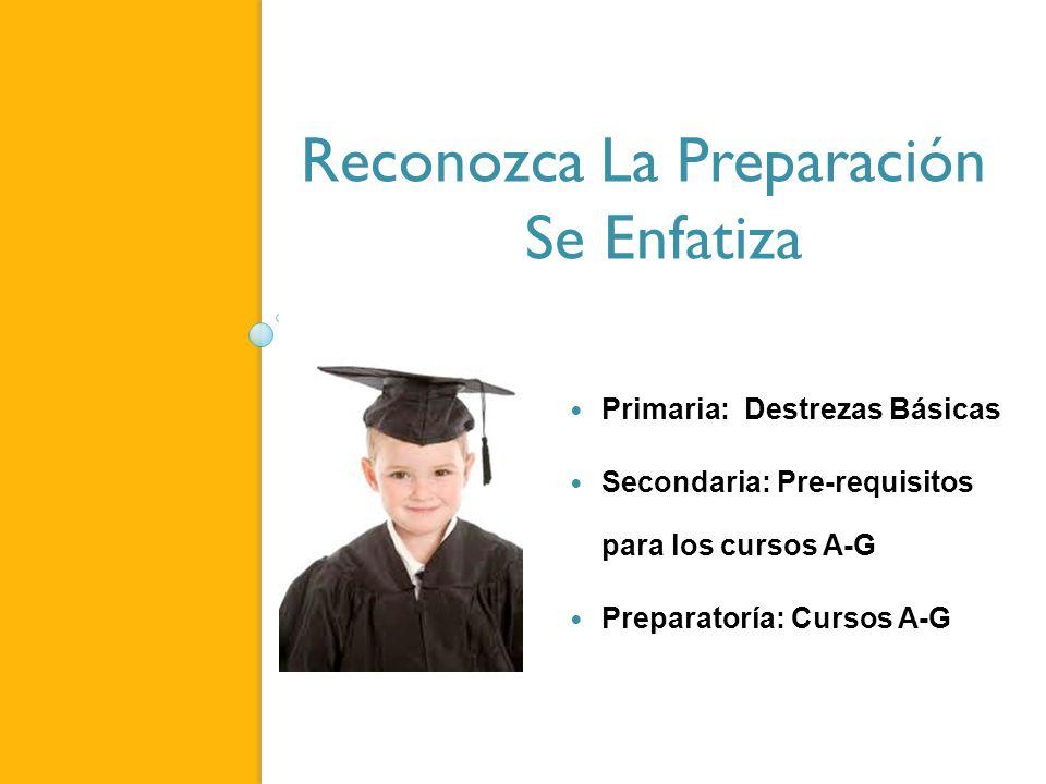 Reconozca La Preparación Se Enfatiza Primaria: Destrezas Básicas Secondaria: Pre-requisitos para los cursos A-G Preparatoría: Cursos A-G