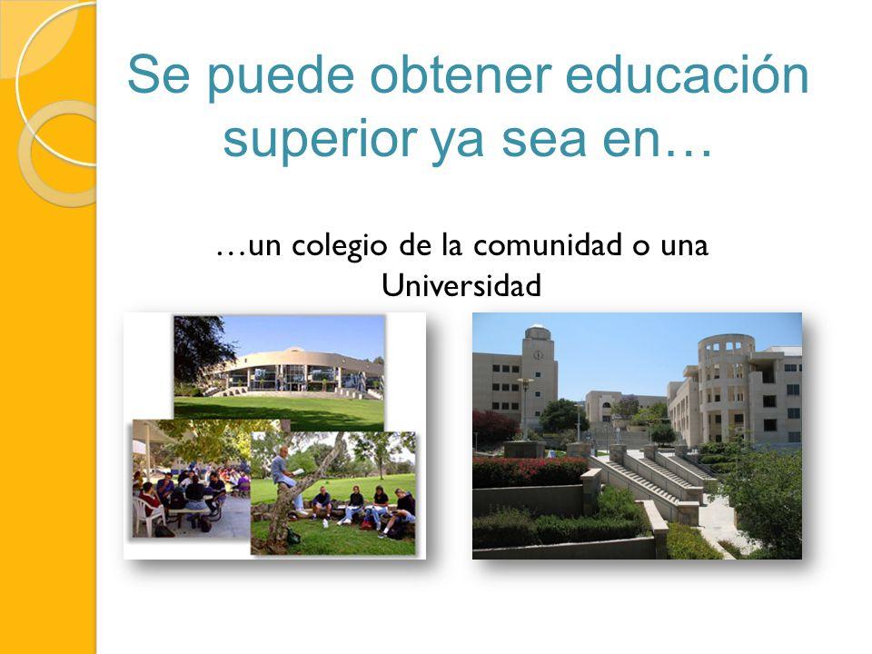Se puede obtener educación superior ya sea en… …un colegio de la comunidad o una Universidad
