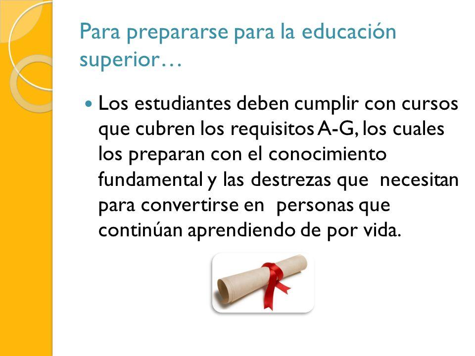 Para prepararse para la educación superior… Los estudiantes deben cumplir con cursos que cubren los requisitos A-G, los cuales los preparan con el con