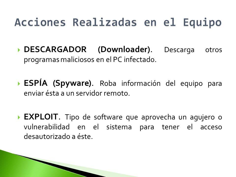DESCARGADOR (Downloader). Descarga otros programas maliciosos en el PC infectado. ESPÍA (Spyware). Roba información del equipo para enviar ésta a un s