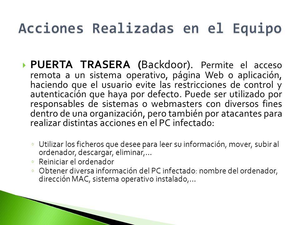 PUERTA TRASERA (Backdoor). Permite el acceso remota a un sistema operativo, página Web o aplicación, haciendo que el usuario evite las restricciones d
