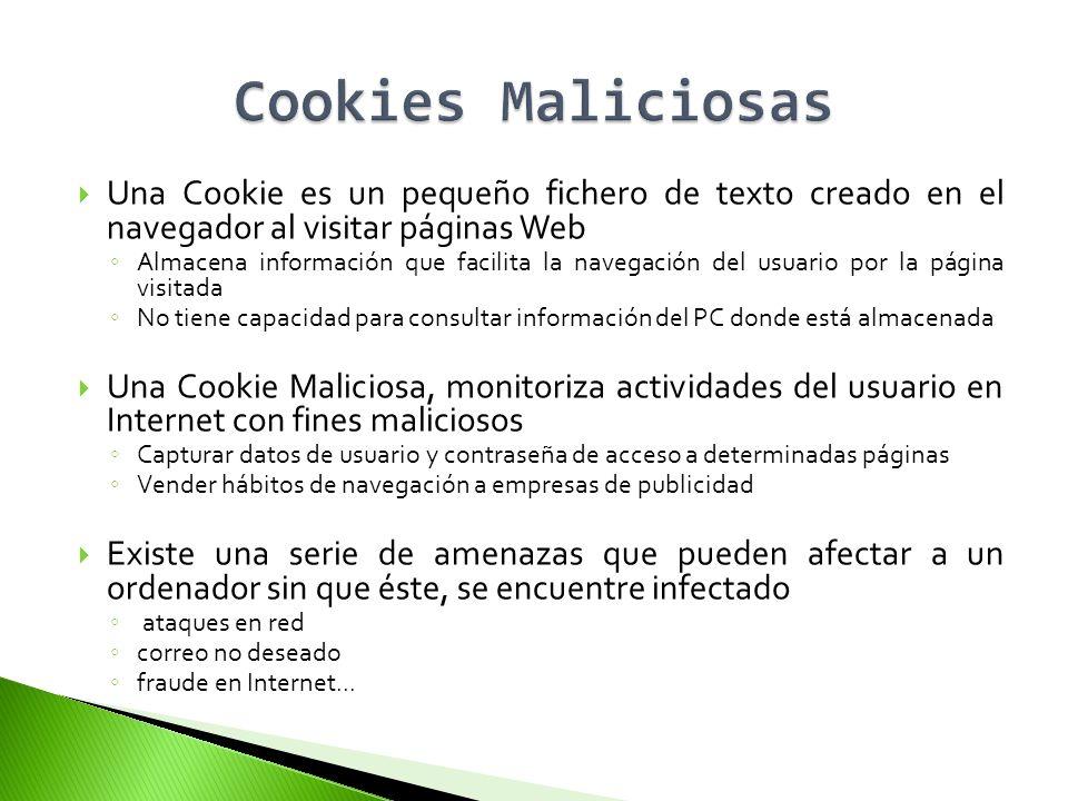 Una Cookie es un pequeño fichero de texto creado en el navegador al visitar páginas Web Almacena información que facilita la navegación del usuario po
