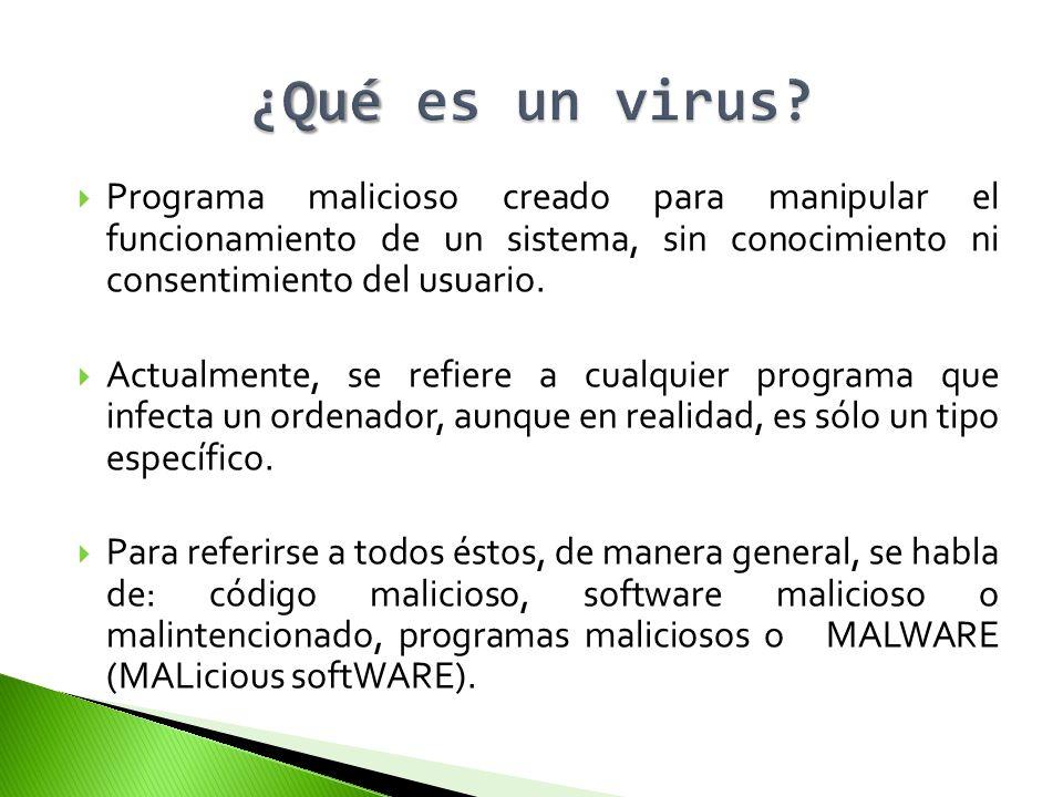 Programa malicioso creado para manipular el funcionamiento de un sistema, sin conocimiento ni consentimiento del usuario. Actualmente, se refiere a cu