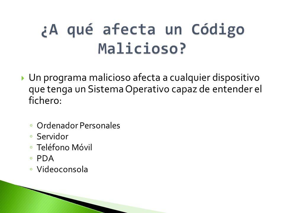 Un programa malicioso afecta a cualquier dispositivo que tenga un Sistema Operativo capaz de entender el fichero: Ordenador Personales Servidor Teléfo