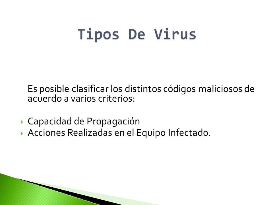 Es posible clasificar los distintos códigos maliciosos de acuerdo a varios criterios: Capacidad de Propagación Acciones Realizadas en el Equipo Infect