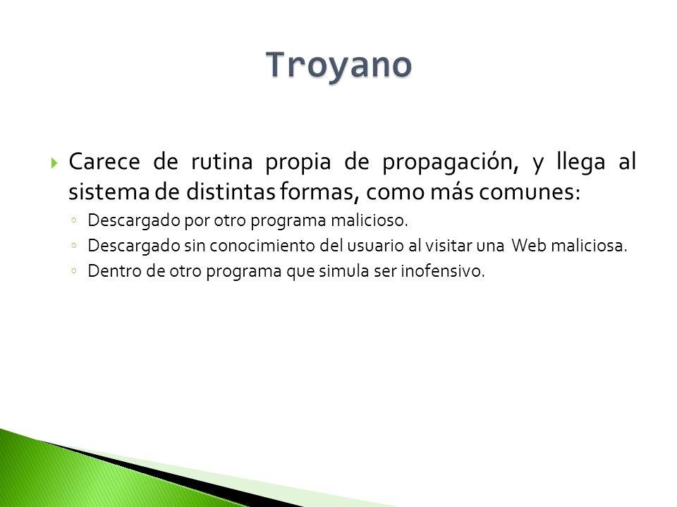 Adware Bloqueador Bomba lógica Broma (Joke) Bulo (Hoax) Capturador de Pulsaciones (Keylogger) Clicker Criptovirus (Ransomware) Descargador (Downloader) Espía (Spyware) Exploit Herramienta de Fraude Instalador (Dropper) Ladrón de Contraseñas (PWStealer) Puerta Trasera (Backdoor) Secuestrador del Navegador (Browser Hijacker)