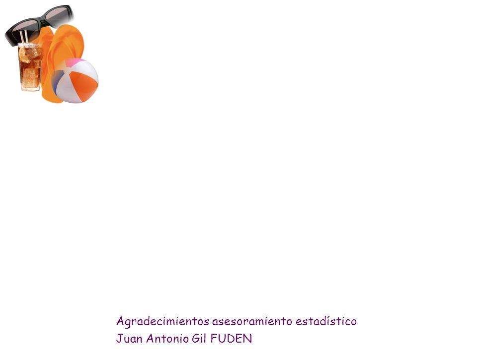 Agradecimientos asesoramiento estadístico Juan Antonio Gil FUDEN