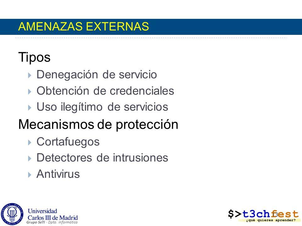 Grupo SeTI · Dpto. Informática Tipos Denegación de servicio Obtención de credenciales Uso ilegítimo de servicios Mecanismos de protección Cortafuegos