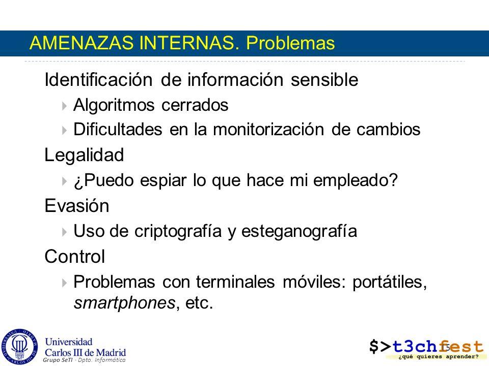 Grupo SeTI · Dpto. Informática AMENAZAS INTERNAS. Problemas Identificación de información sensible Algoritmos cerrados Dificultades en la monitorizaci