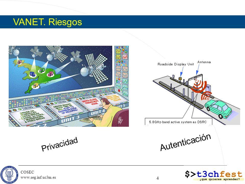 COSEC www.seg.inf.uc3m.es Privacidad 4 Autenticación VANET. Riesgos
