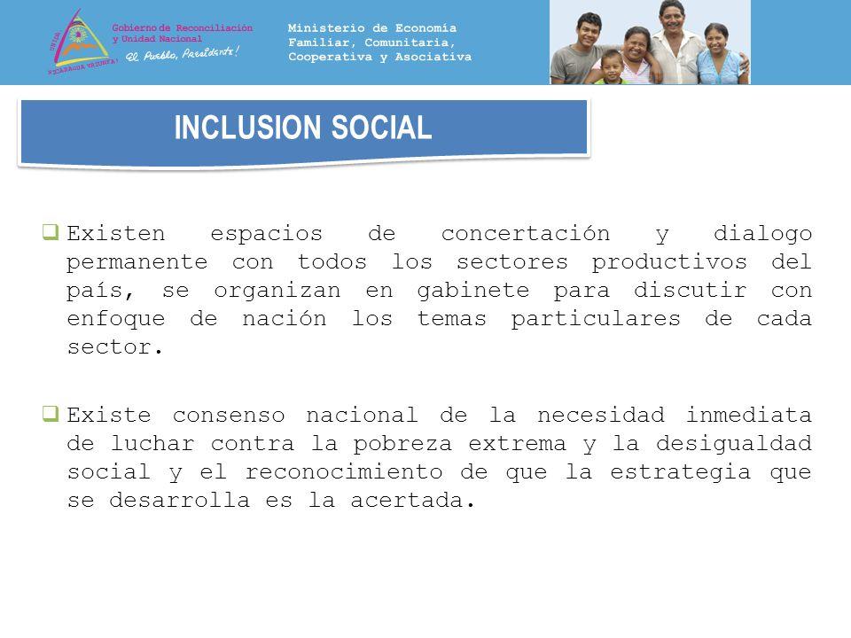 INCLUSION SOCIAL Existen espacios de concertación y dialogo permanente con todos los sectores productivos del país, se organizan en gabinete para disc