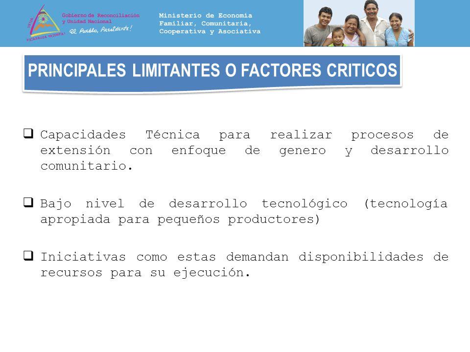 PRINCIPALES LIMITANTES O FACTORES CRITICOS Capacidades Técnica para realizar procesos de extensión con enfoque de genero y desarrollo comunitario. Baj