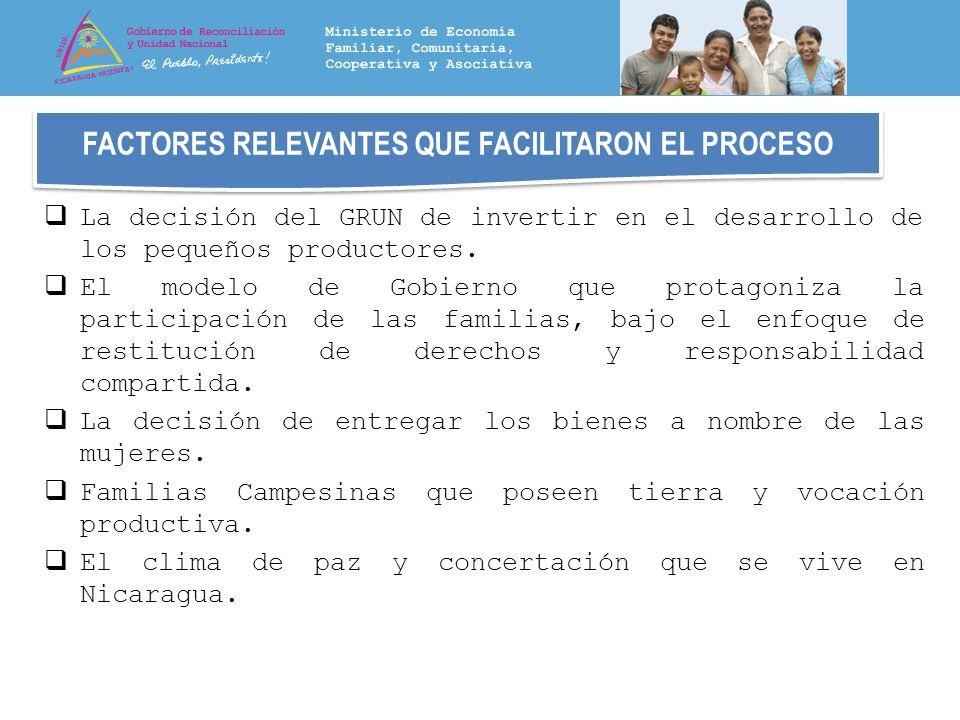 FACTORES RELEVANTES QUE FACILITARON EL PROCESO La decisión del GRUN de invertir en el desarrollo de los pequeños productores. El modelo de Gobierno qu