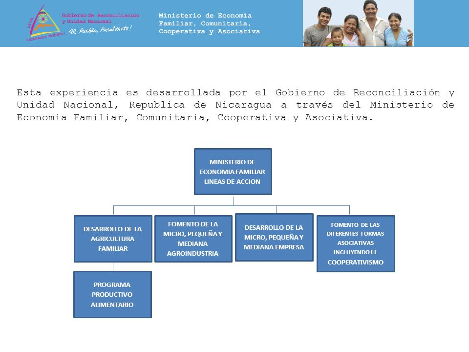 Esta experiencia es desarrollada por el Gobierno de Reconciliación y Unidad Nacional, Republica de Nicaragua a través del Ministerio de Economia Famil