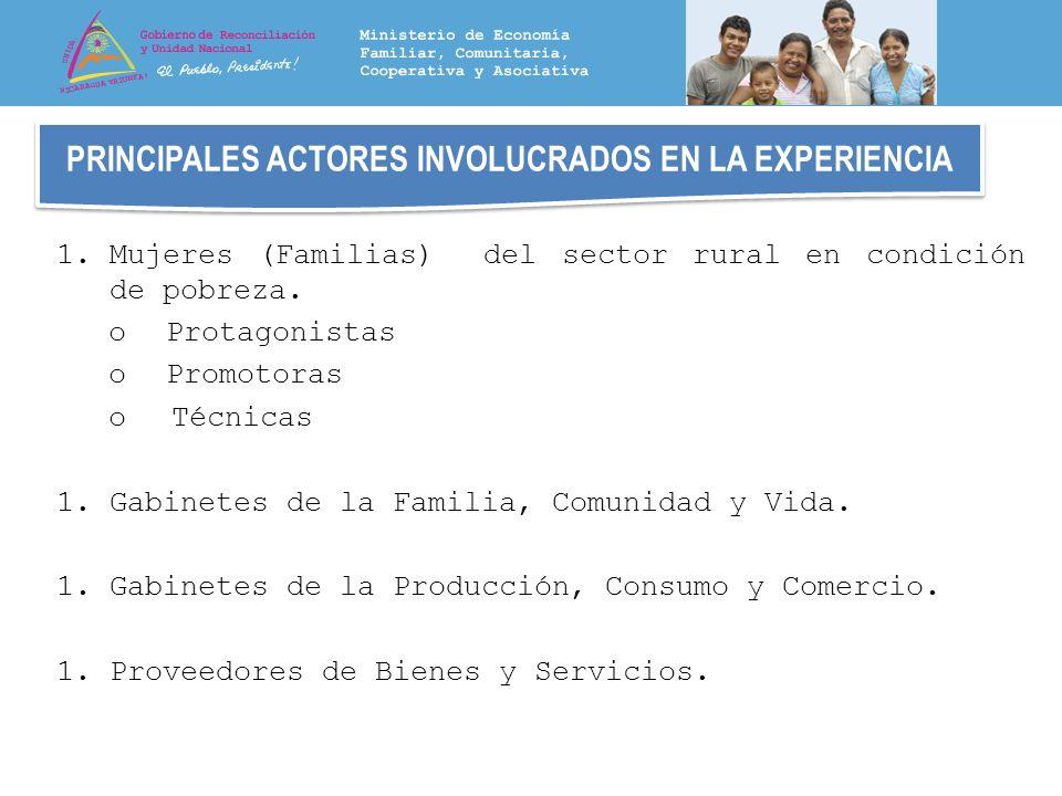 PRINCIPALES ACTORES INVOLUCRADOS EN LA EXPERIENCIA 1.Mujeres (Familias) del sector rural en condición de pobreza. o Protagonistas o Promotoras oTécnic