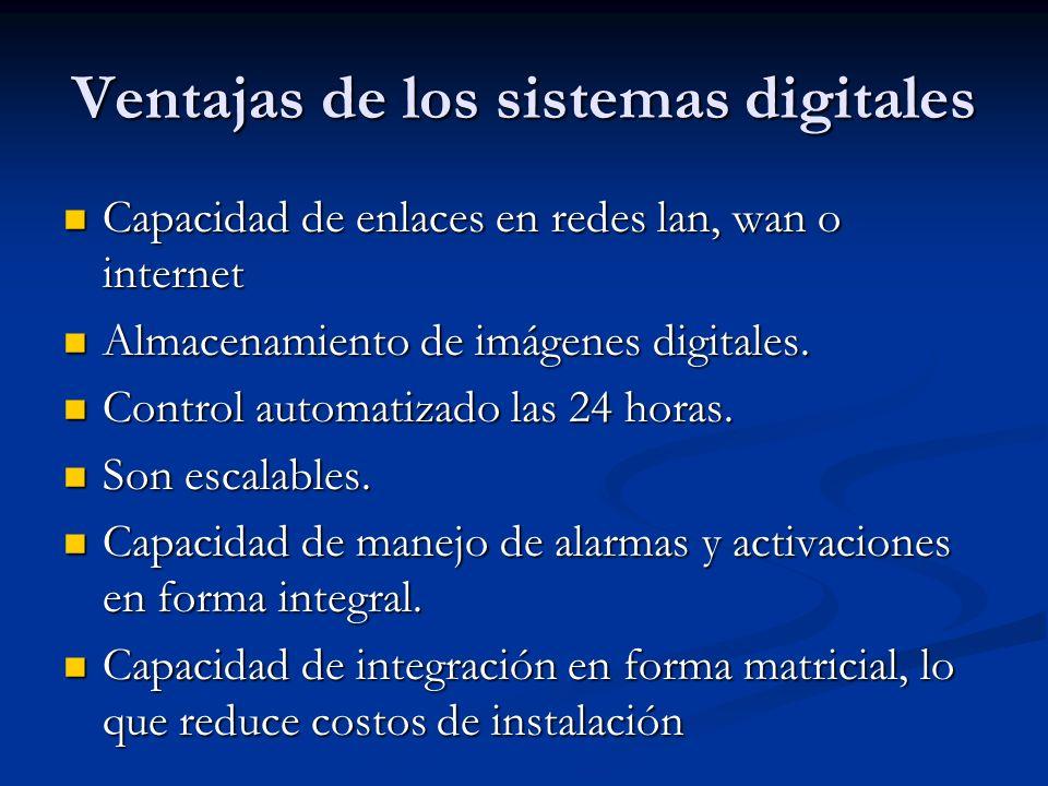 Ventajas de los sistemas digitales Capacidad de enlaces en redes lan, wan o internet Capacidad de enlaces en redes lan, wan o internet Almacenamiento
