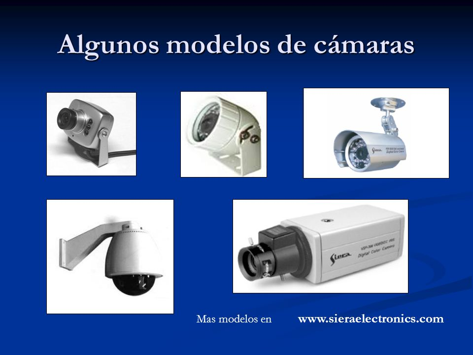 Algunos modelos de cámaras Mas modelos en www.sieraelectronics.com