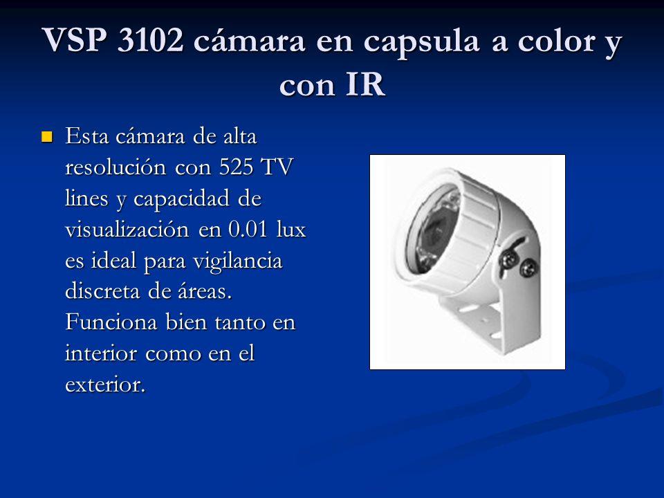VSP 3102 cámara en capsula a color y con IR Esta cámara de alta resolución con 525 TV lines y capacidad de visualización en 0.01 lux es ideal para vig