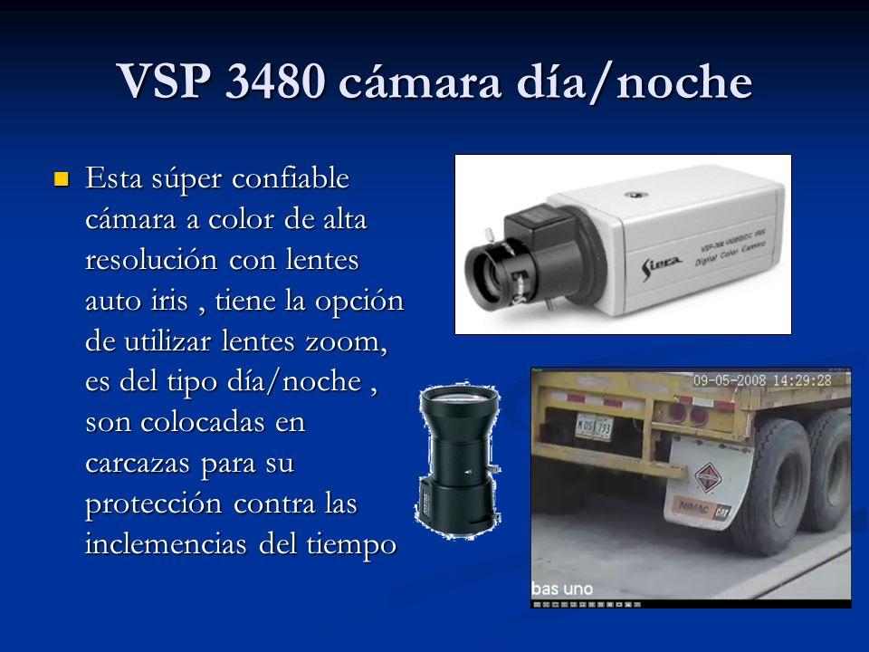 VSP 3480 cámara día/noche Esta súper confiable cámara a color de alta resolución con lentes auto iris, tiene la opción de utilizar lentes zoom, es del