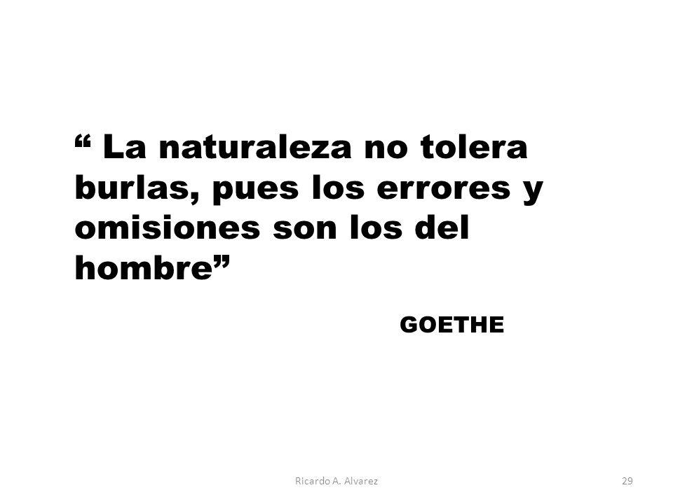 La naturaleza no tolera burlas, pues los errores y omisiones son los del hombre GOETHE Ricardo A.