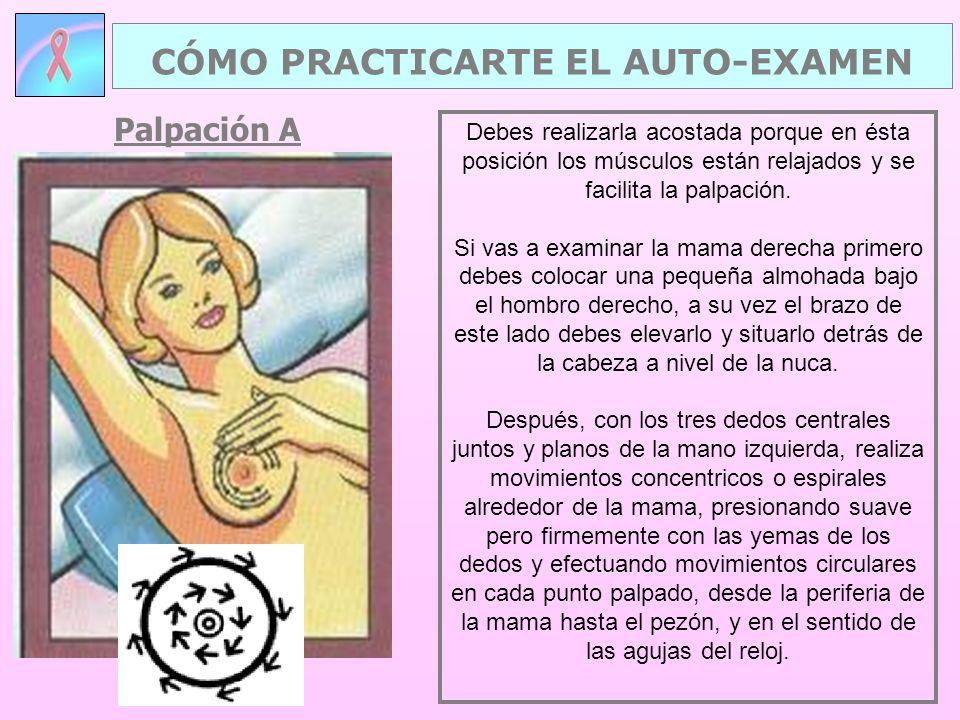Palpación A CÓMO PRACTICARTE EL AUTO-EXAMEN Debes realizarla acostada porque en ésta posición los músculos están relajados y se facilita la palpación.
