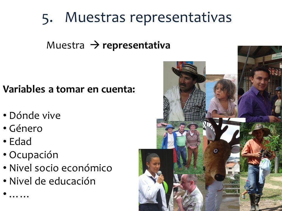 5.Muestras representativas Muestra representativa Variables a tomar en cuenta: Dónde vive Género Edad Ocupación Nivel socio económico Nivel de educaci