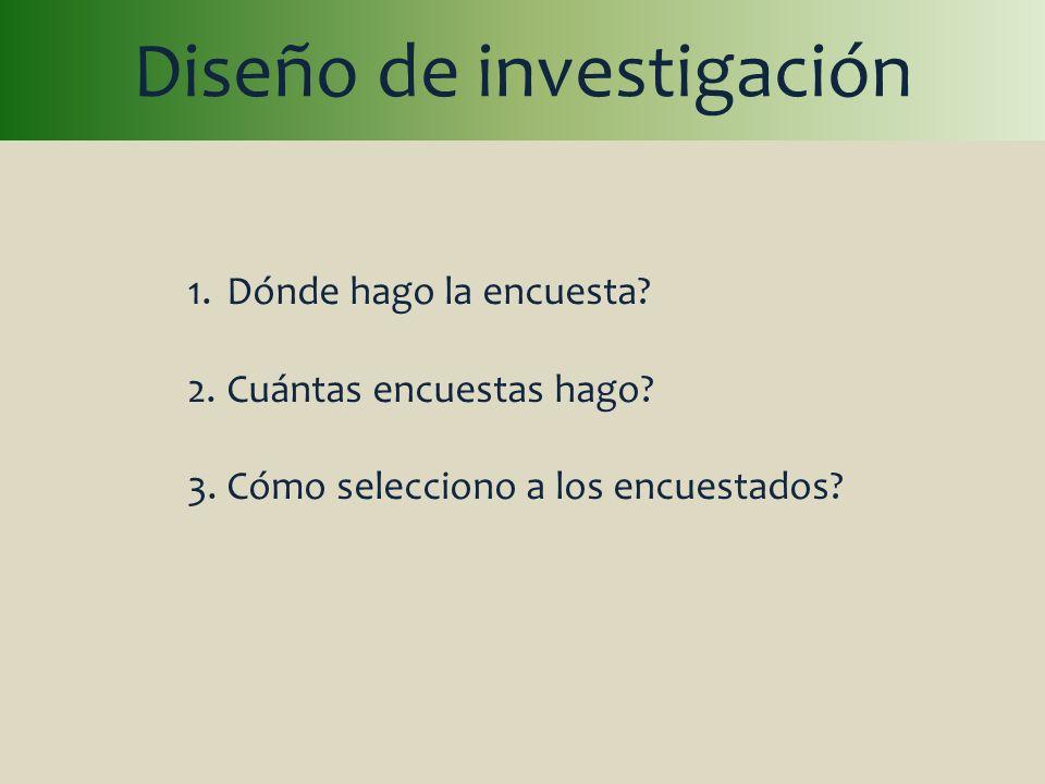 Diseño de investigación 1.Dónde hago la encuesta? 2.Cuántas encuestas hago? 3.Cómo selecciono a los encuestados?